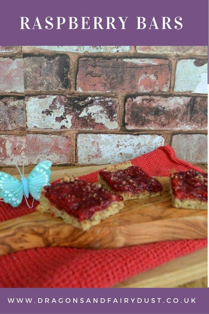 Raspberry bars. A delicious bar with a crumble base and raspberry topping for a teatime treat.