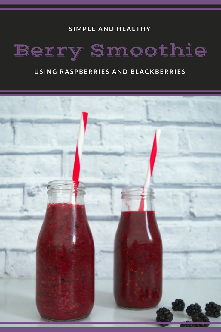 Simple and healthy berry smoothie. Made with raspberries and blackberries