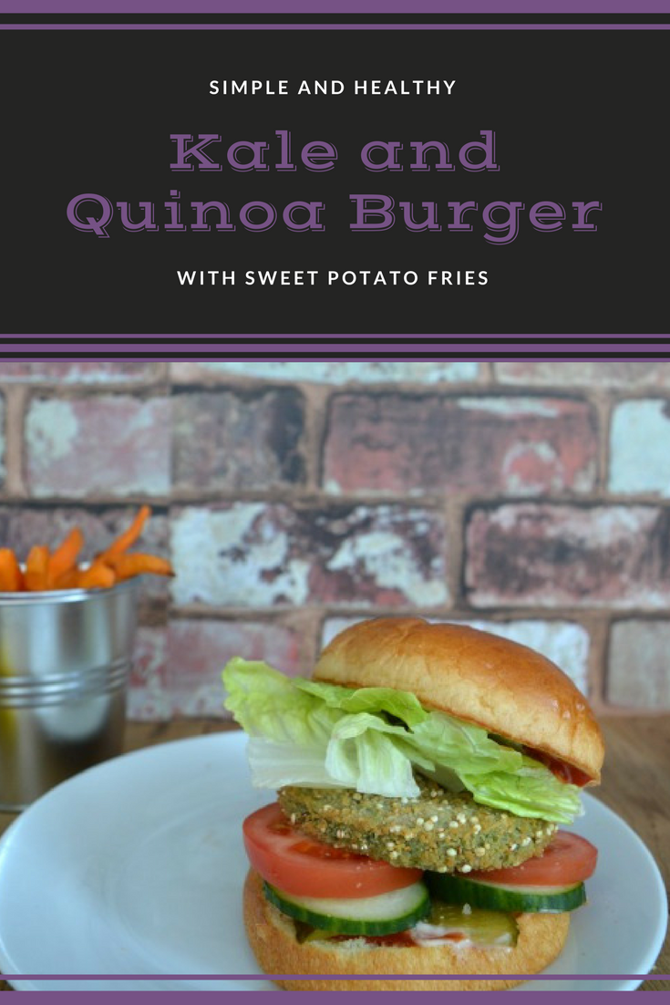 Kale and quinoa burger with sweet potato fries. A healthy low fat vegetarian meal