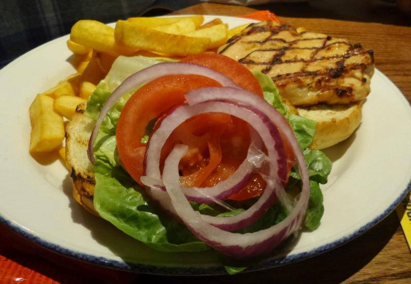 Grilled chicken fillet burger