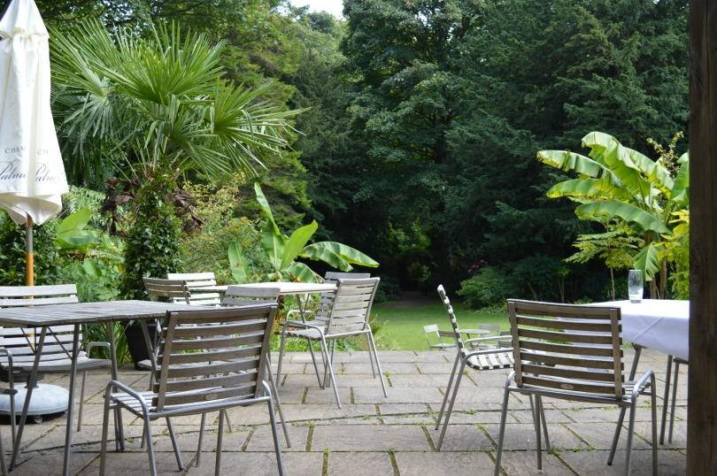 View across the terrace from the garden room at Jesmond Dene House