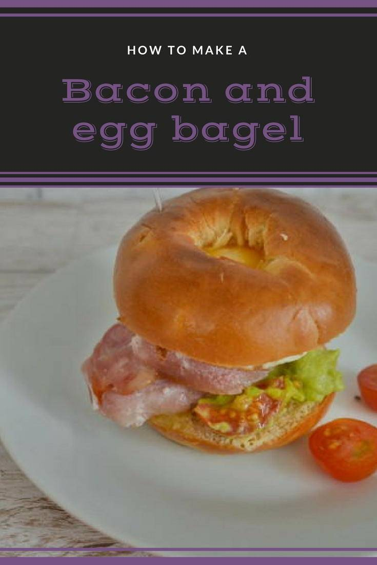 Bacon and egg bagel with a layer of avocado mash. Perfect for breakfast or a snack. Why not get the recipe?