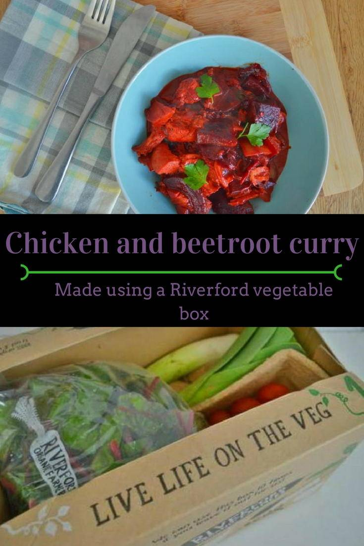 chicken and beetroot curry. A delicious warming winter meal made using seasonal vegetables from a Riverford vegetable box.