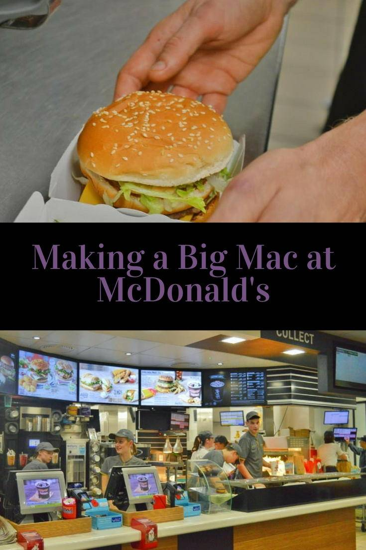 Making a big mac at McDonald's.