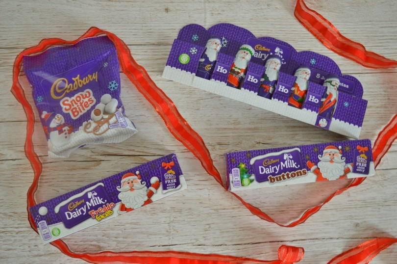 Cadbury chocolate santas, snow bites, and crackers
