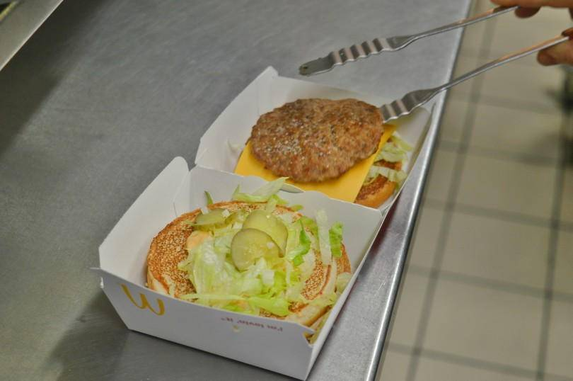 Making a big mac at McDonalds