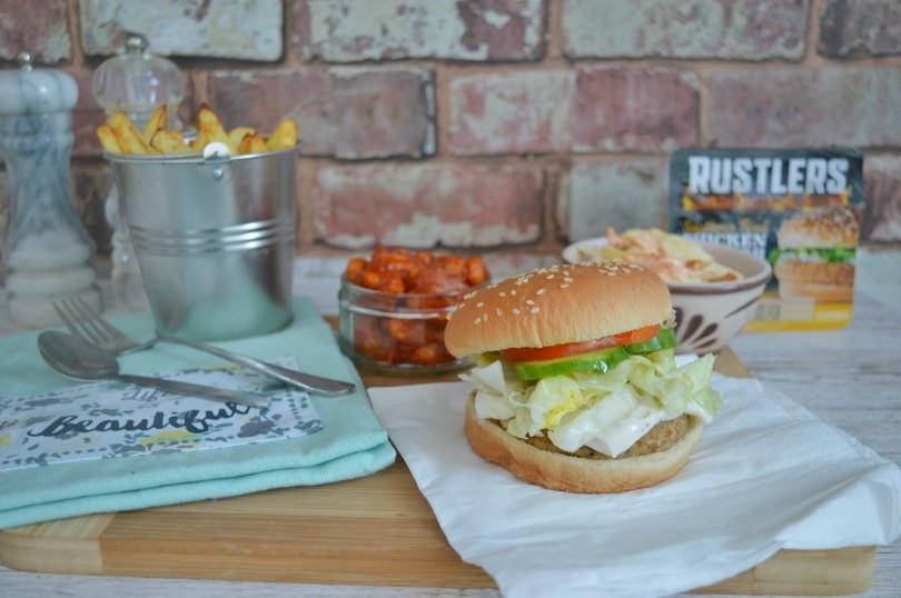 Rustlers soutern fried chicken burger with trimmings
