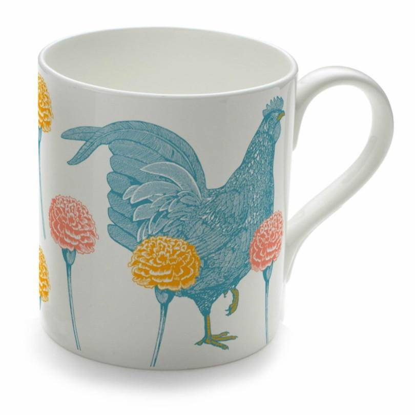 chicken and carnation mug