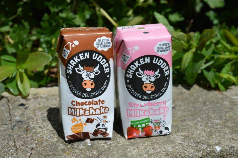 Shaken udder milk shakes in cartons