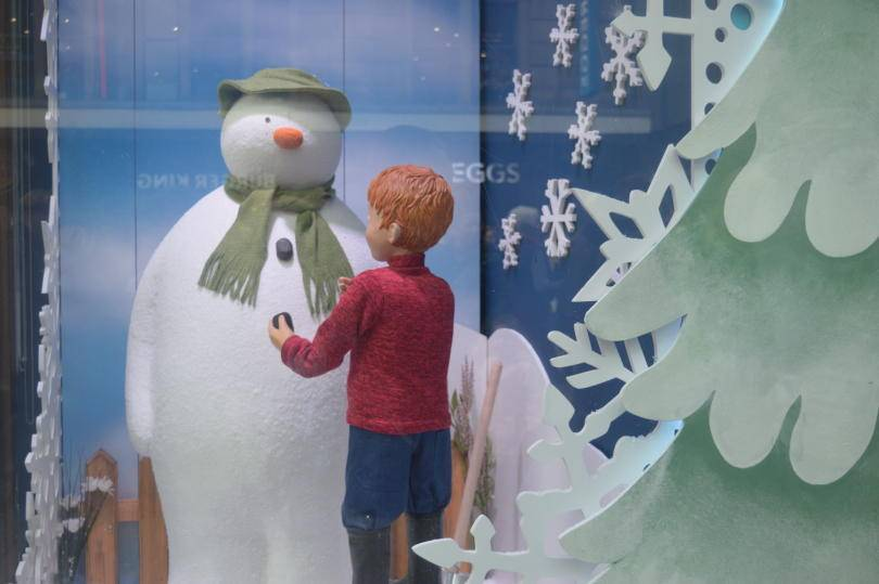 Fenwick's Christmas windows - the snowman meets James
