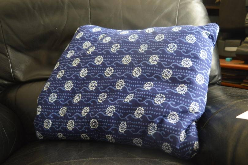 Blue cushion on a chair