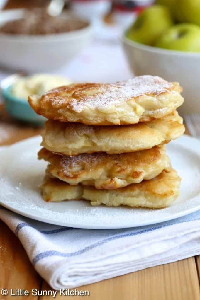 Dutch Apple pancakes on a cloth