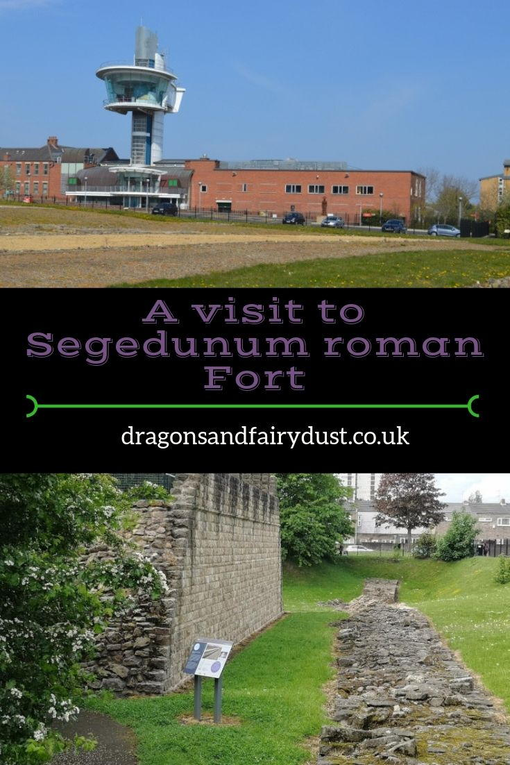 Segedunum Roman Fort in Wallsend - a view across the fort and an image of the reconstruction of Hadrian's Wall