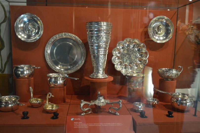 A collection of Silverware on display at Segedunum