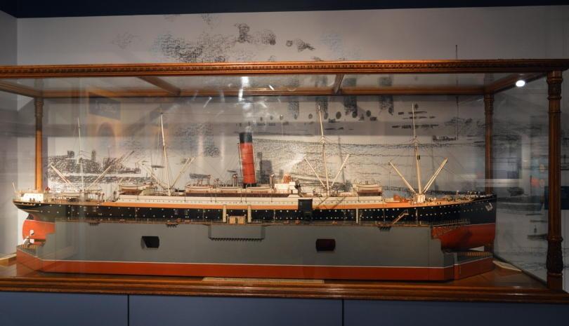 Model of ship built on river Tyne