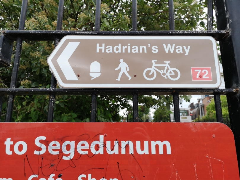 Sign marking the start of Hadrian's way cycle path