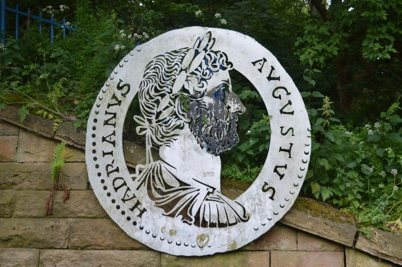 Plaque of Hadrian on Hadrians Wall Path near Wallsend