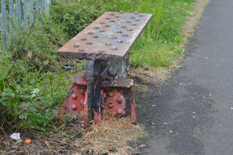 metal bench on Hadrians Wall Path near Wallsend