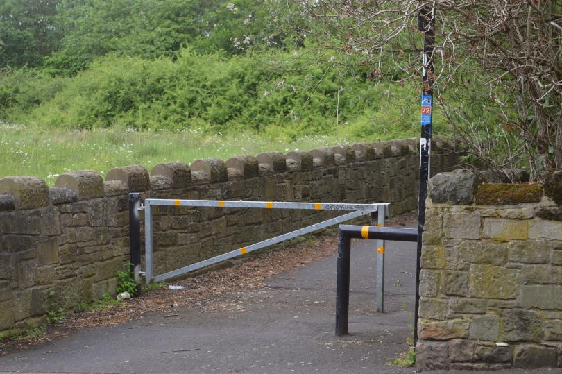 Road crossing on Hadrians Wall Path near Wallsend