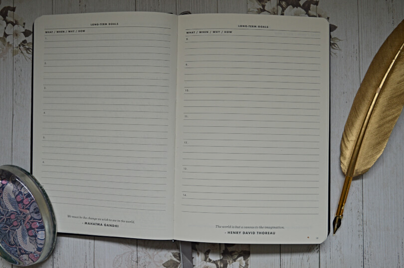 goals pages in the daily goal setter planner