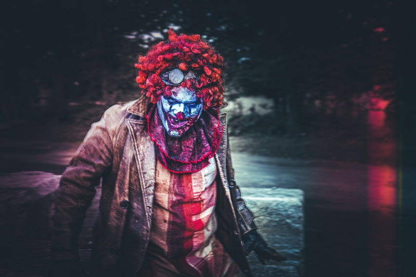 A scary looking clown at Psycho Path
