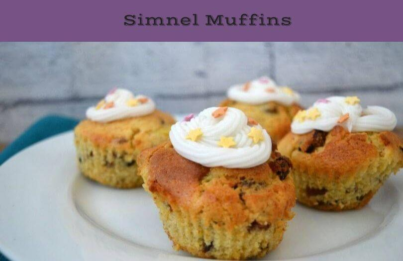 Simnel muffins on a plate