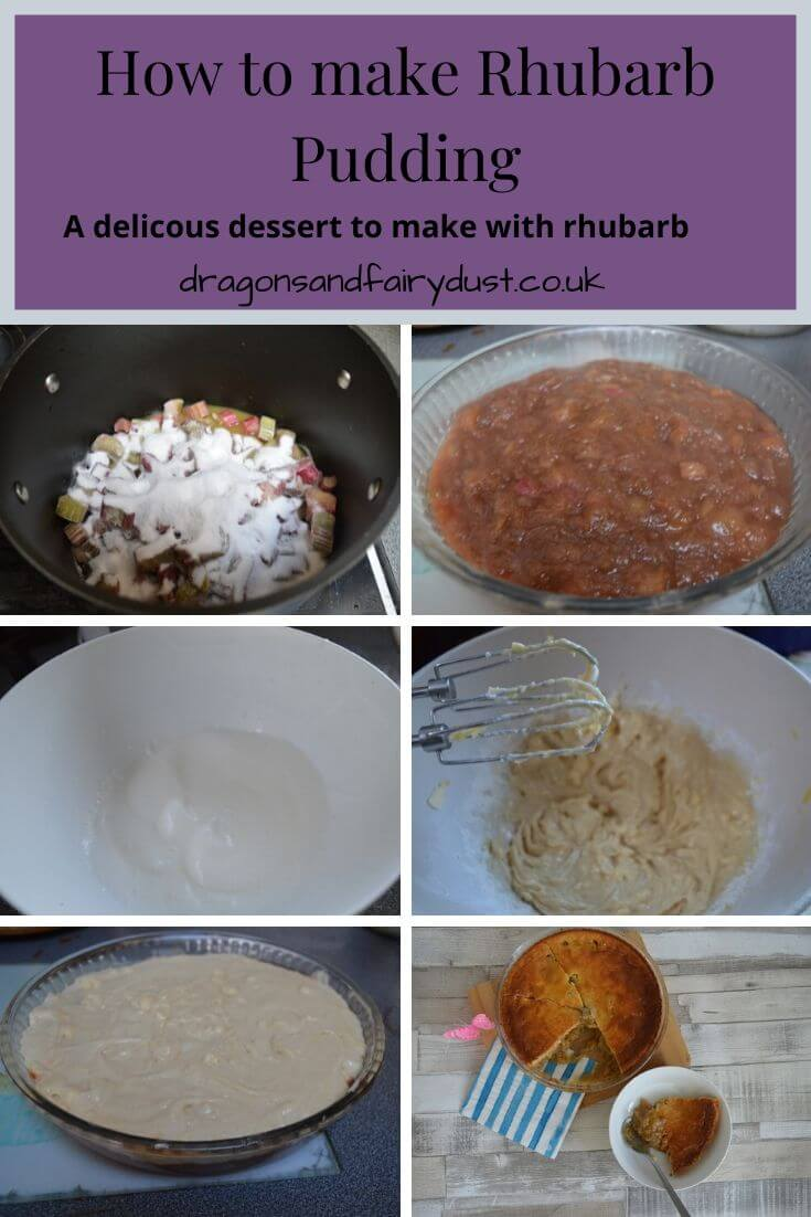 Collage showing the steps to make rhubarb pudding